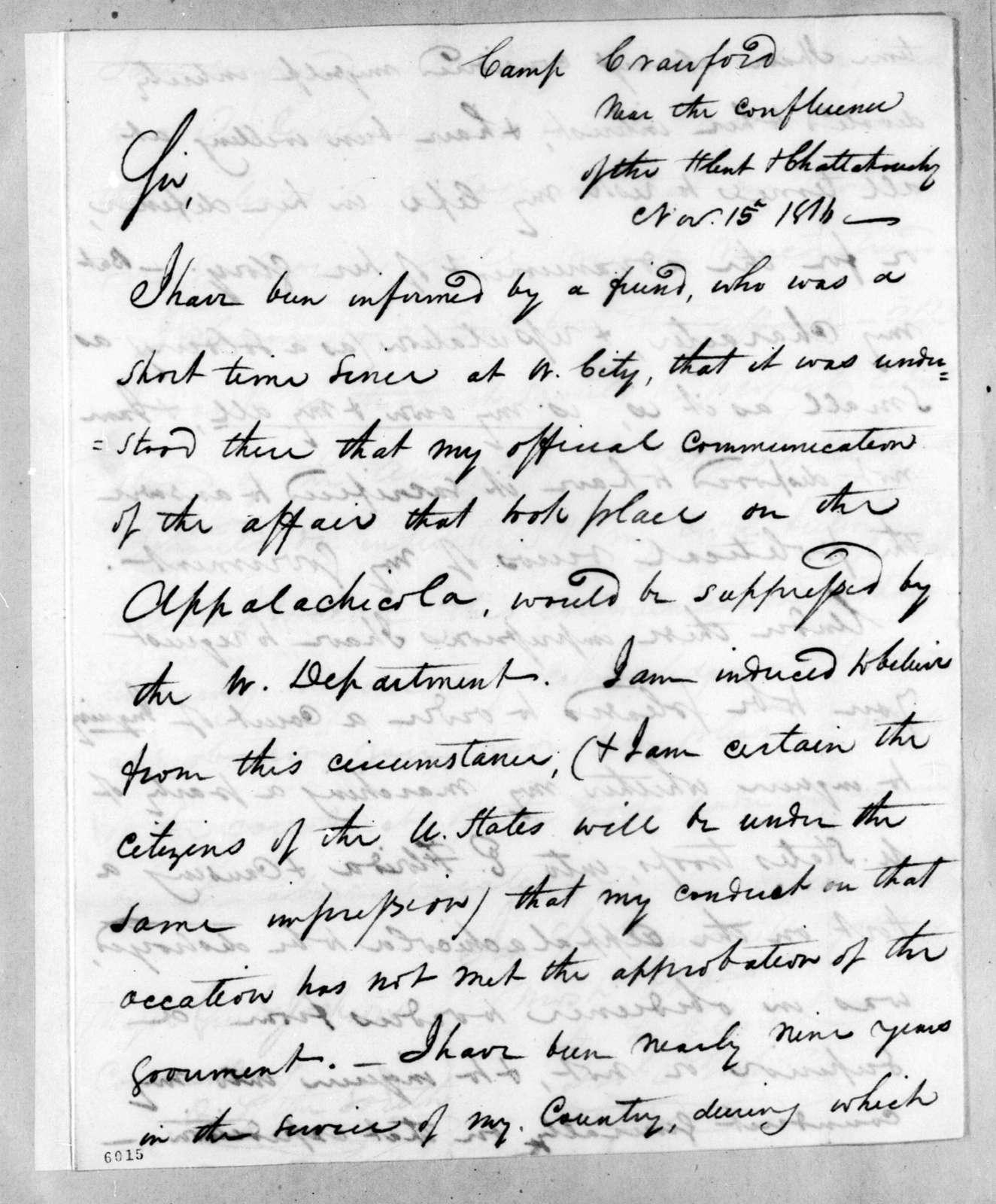 Duncan Lamont Clinch to Andrew Jackson, November 15, 1816