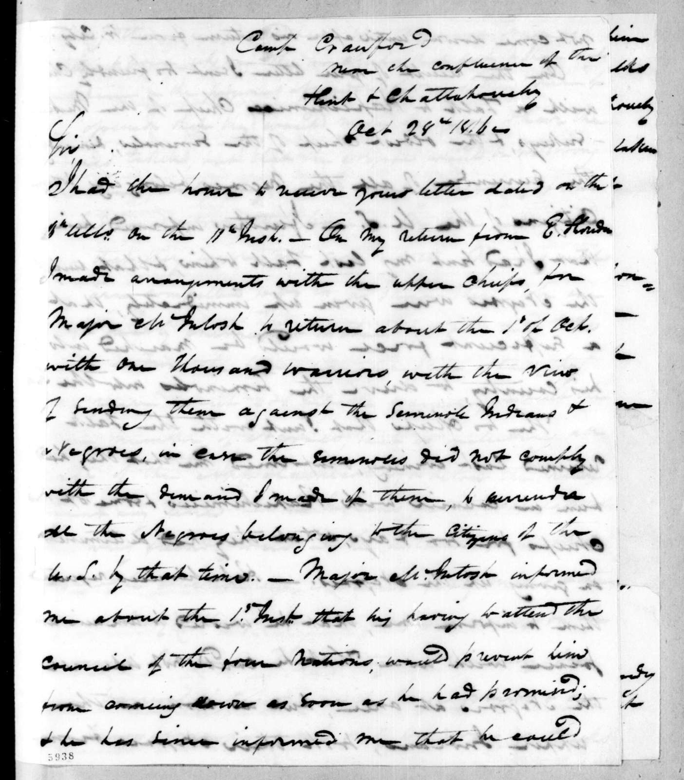 Duncan Lamont Clinch to Andrew Jackson, October 28, 1816