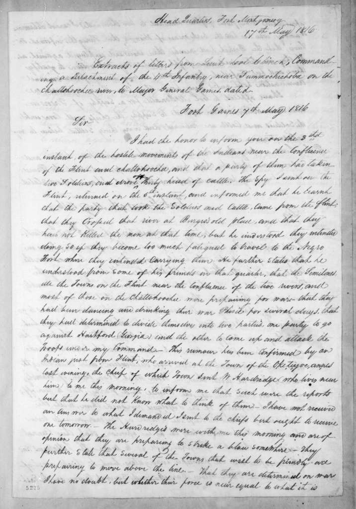 Duncan Lamont Clinch to Edmund Pendleton Gaines, May 17, 1816