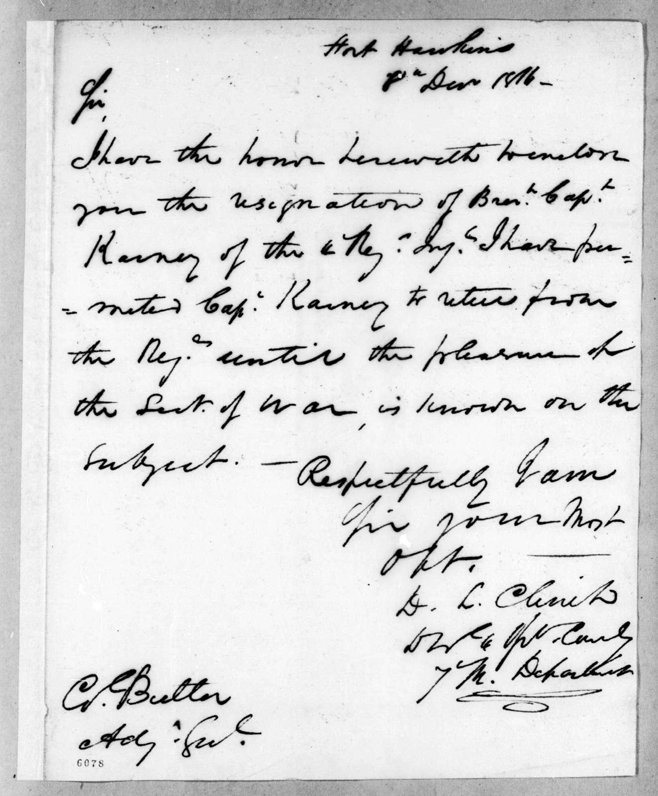 Duncan Lamont Clinch to Robert Butler, December 8, 1816
