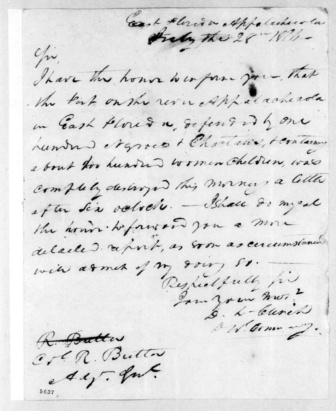 Duncan Lamont Clinch to Robert Butler, July 28, 1816