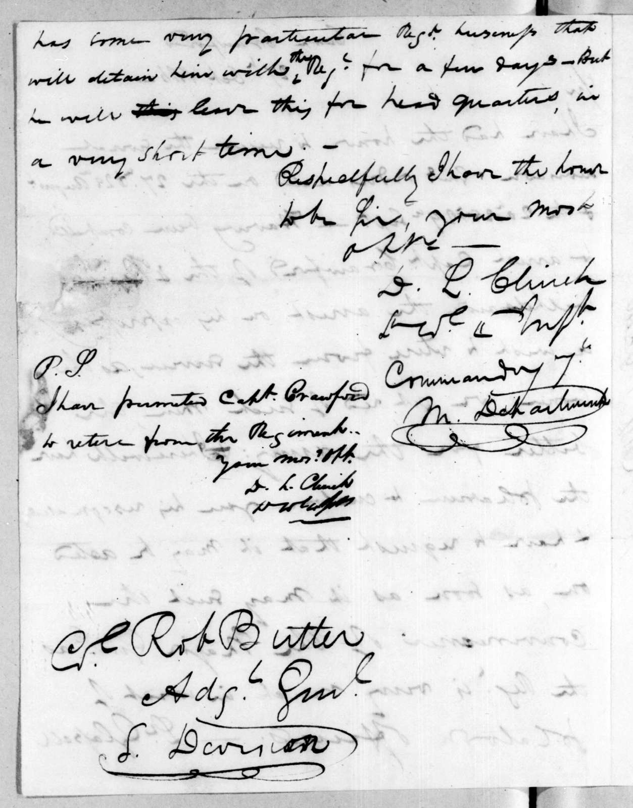 Duncan Lamont Clinch to Robert Butler, October 27, 1816