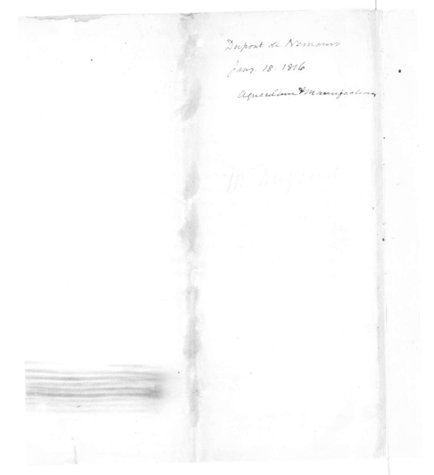 Dupont de Nemours to James Madison, January 18, 1816. & Circ-Agri-In French.