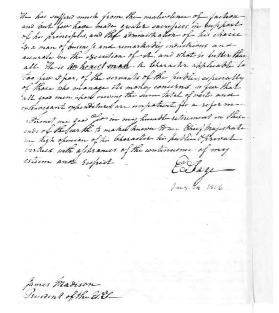 E. Sage to James Madison, January 14, 1816.