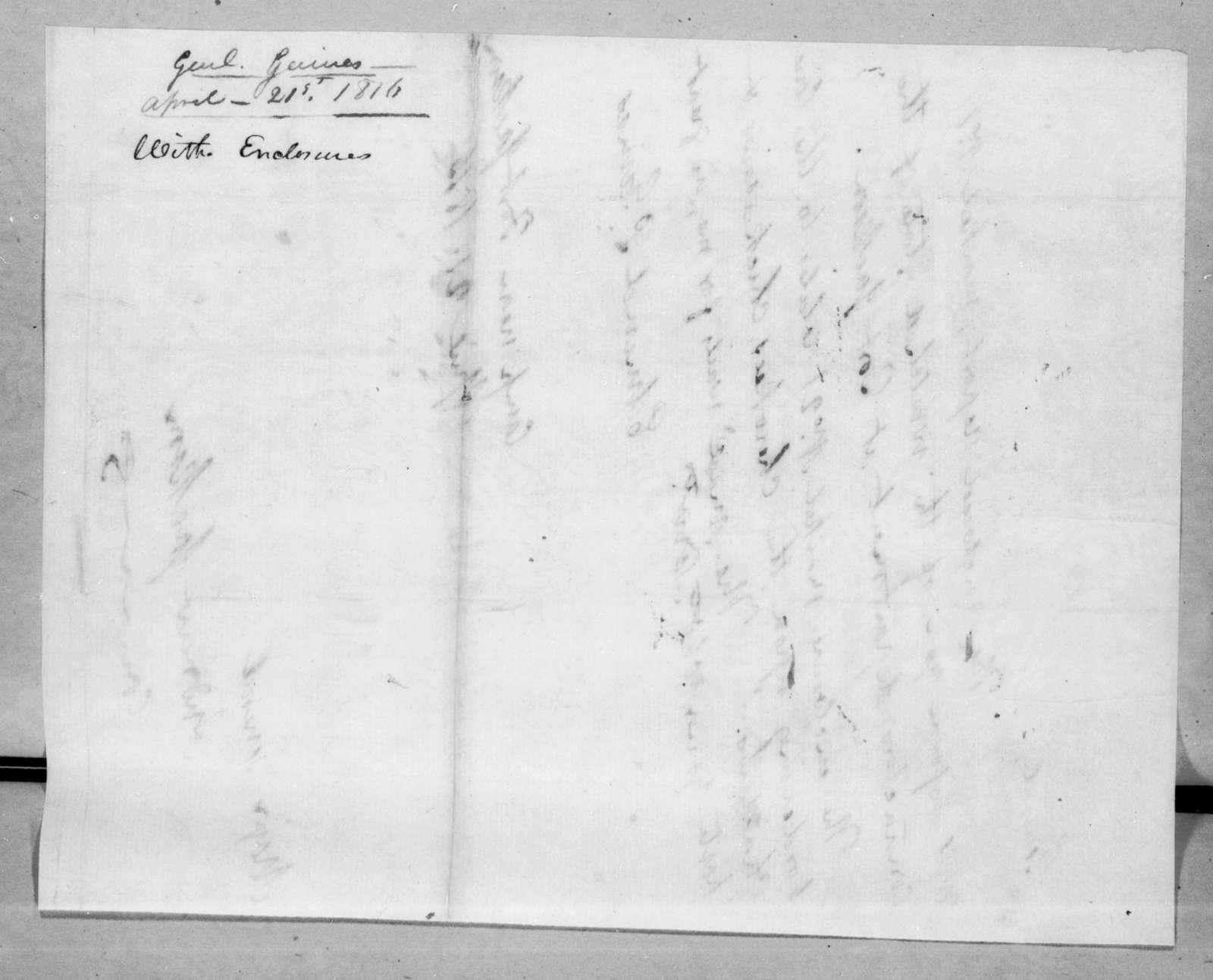 Edmund Pendleton Gaines to Andrew Jackson, April 21, 1816