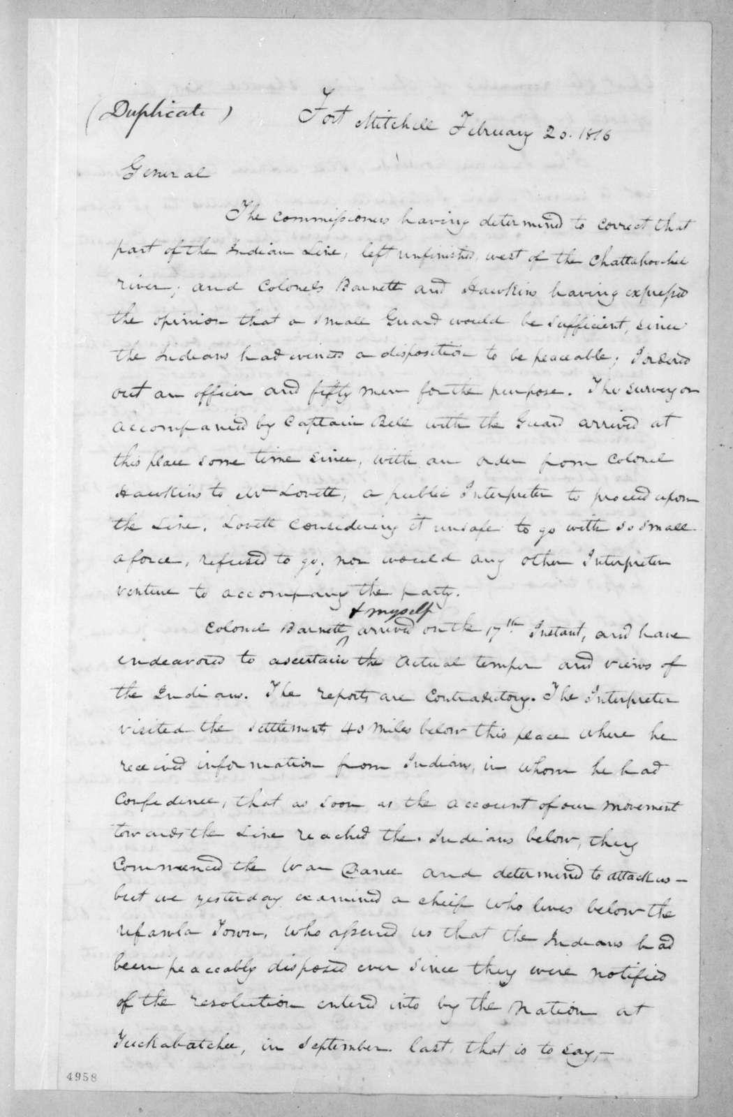Edmund Pendleton Gaines to Andrew Jackson, February 20, 1816
