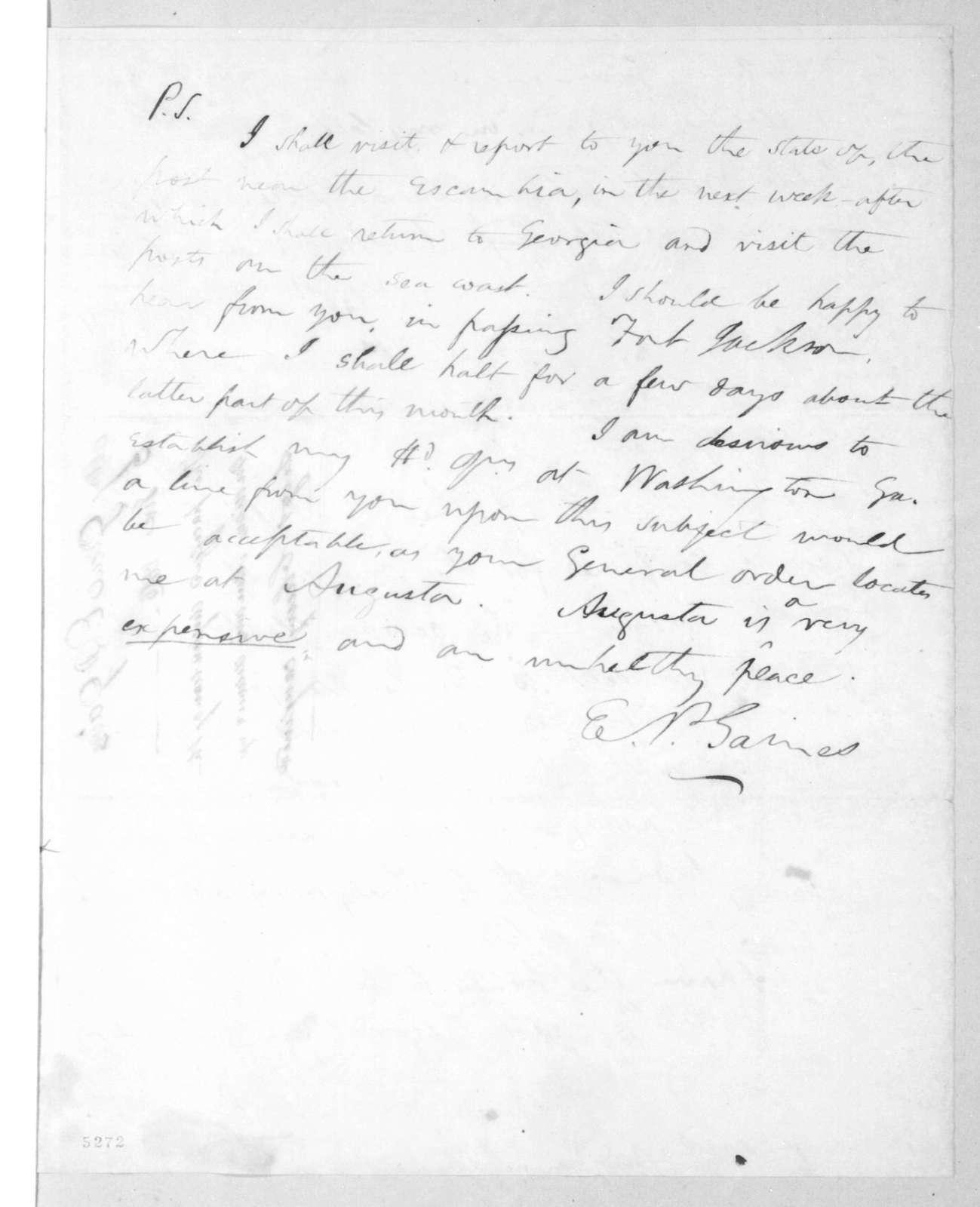 Edmund Pendleton Gaines to Andrew Jackson, June 3, 1816