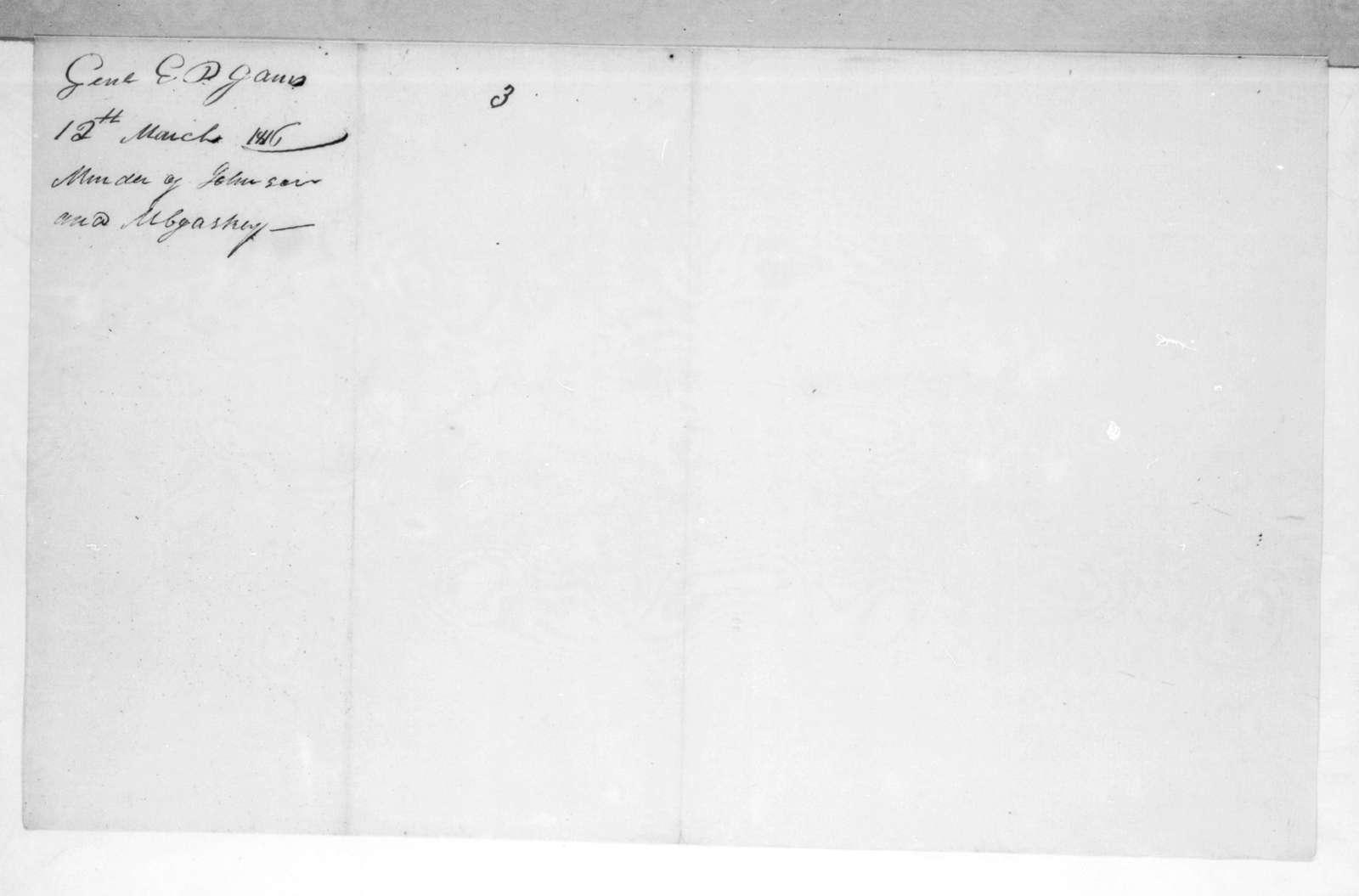 Edmund Pendleton Gaines to Andrew Jackson, March 12, 1816
