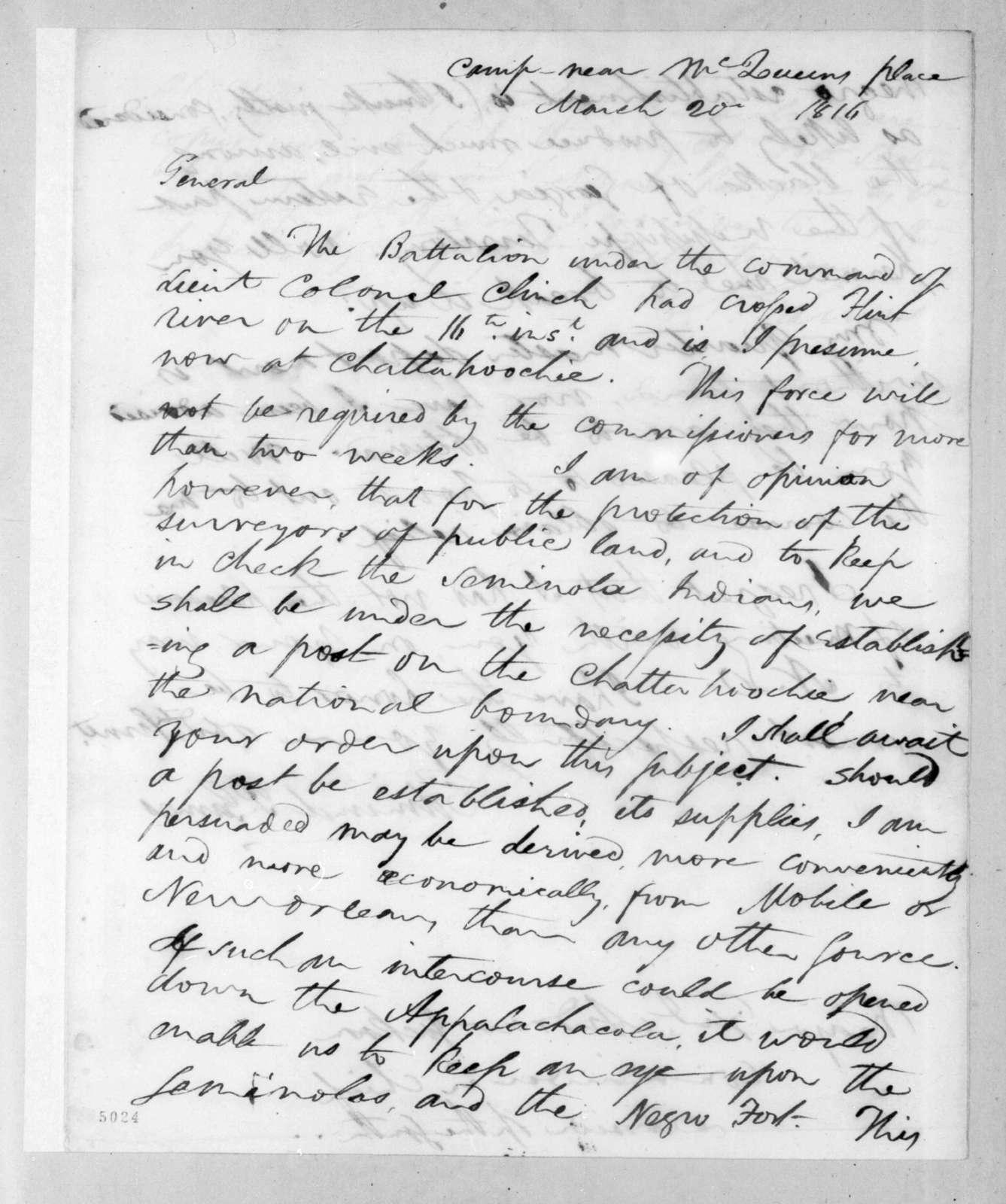 Edmund Pendleton Gaines to Andrew Jackson, March 20, 1816
