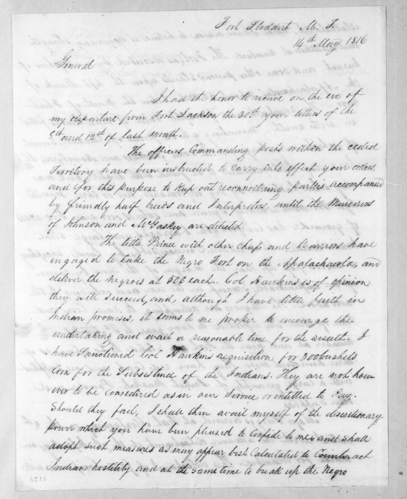 Edmund Pendleton Gaines to Andrew Jackson, May 14, 1816