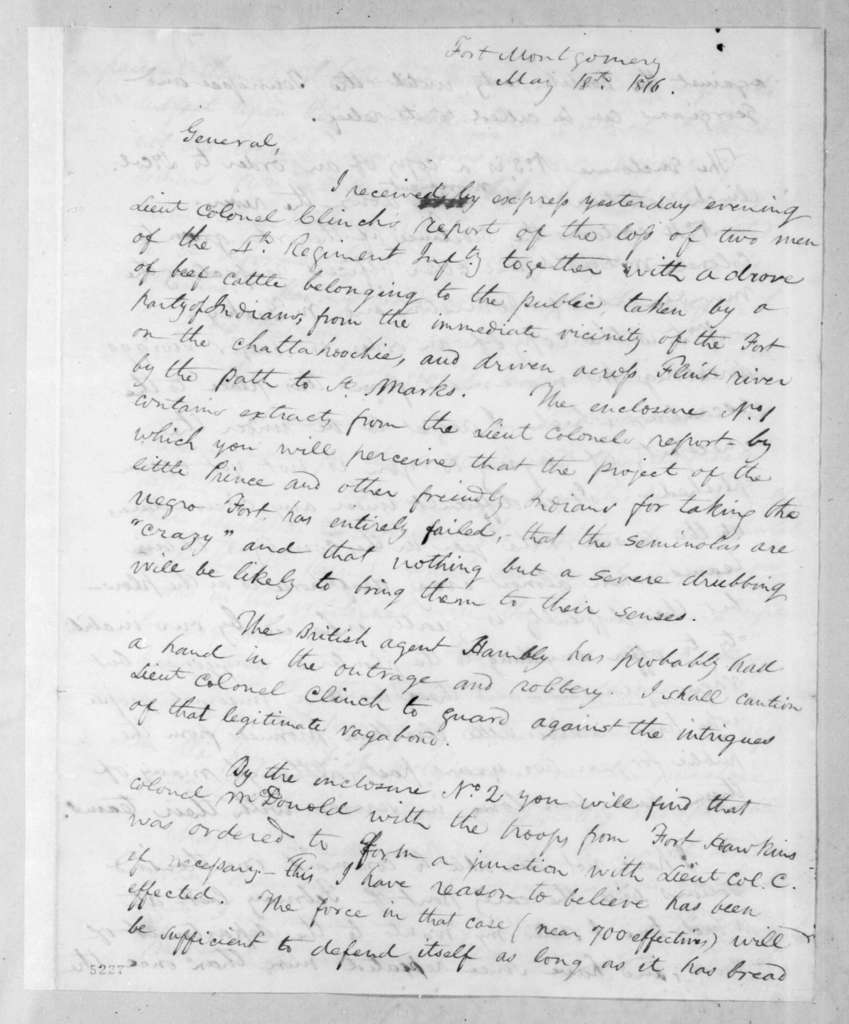 Edmund Pendleton Gaines to Andrew Jackson, May 18, 1816