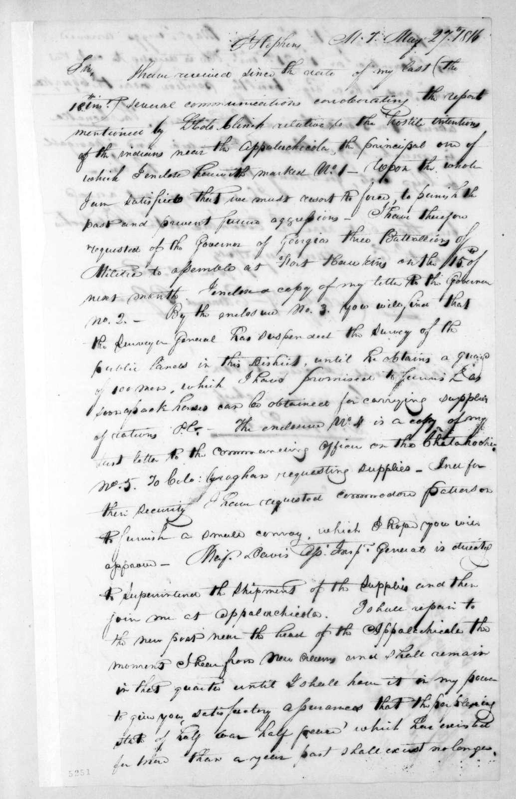 Edmund Pendleton Gaines to Andrew Jackson, May 27, 1816