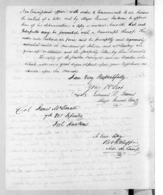 Edmund Pendleton Gaines to James McDonald, April 29, 1816