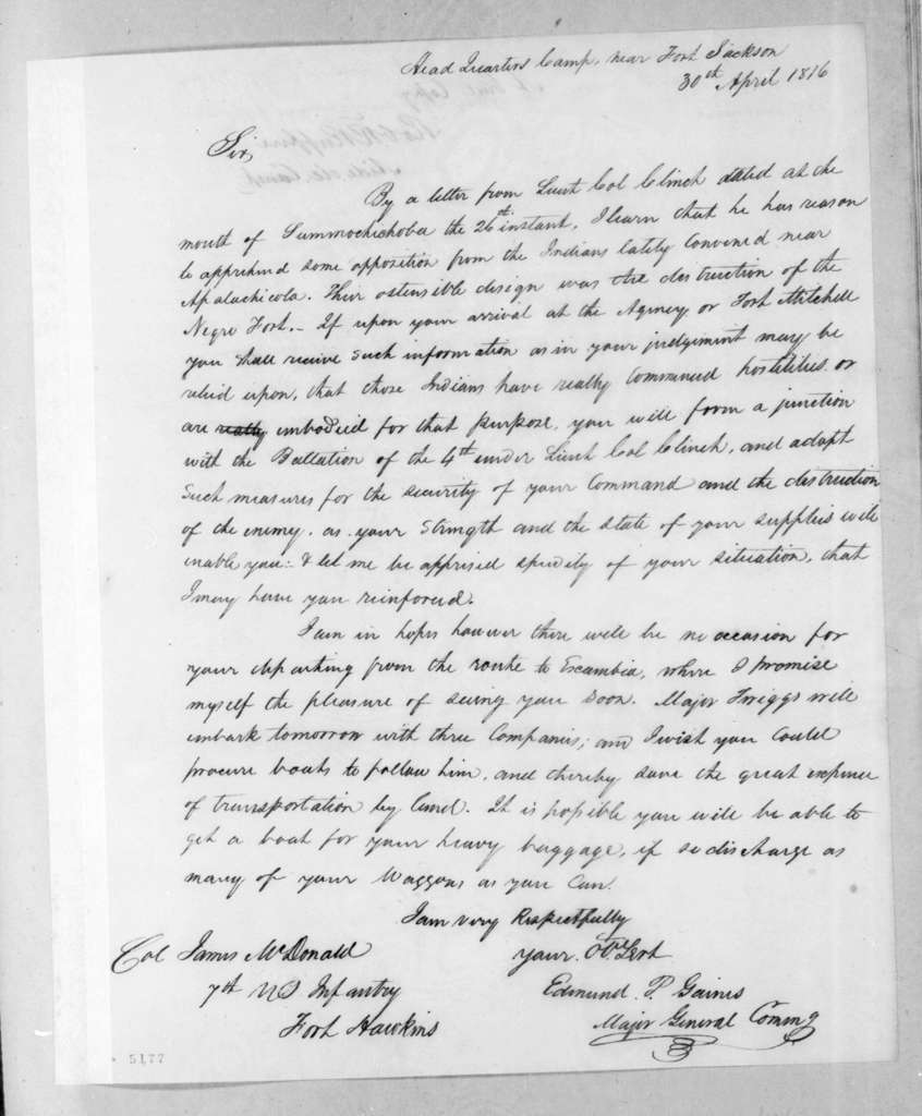 Edmund Pendleton Gaines to James McDonald, April 30, 1816