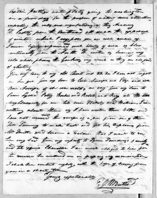 Edward George Washington Butler to Robert Hays, November 20, 1816