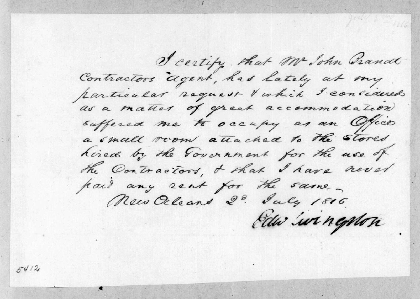 Edward Livingston to John Brandt, July 2, 1816