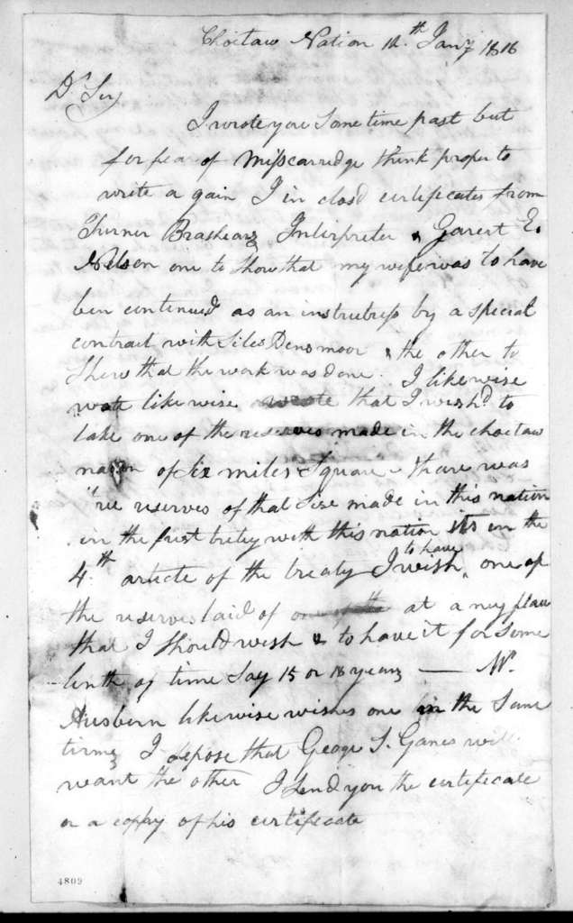 Edward Mitchell to Andrew Jackson, January 12, 1816