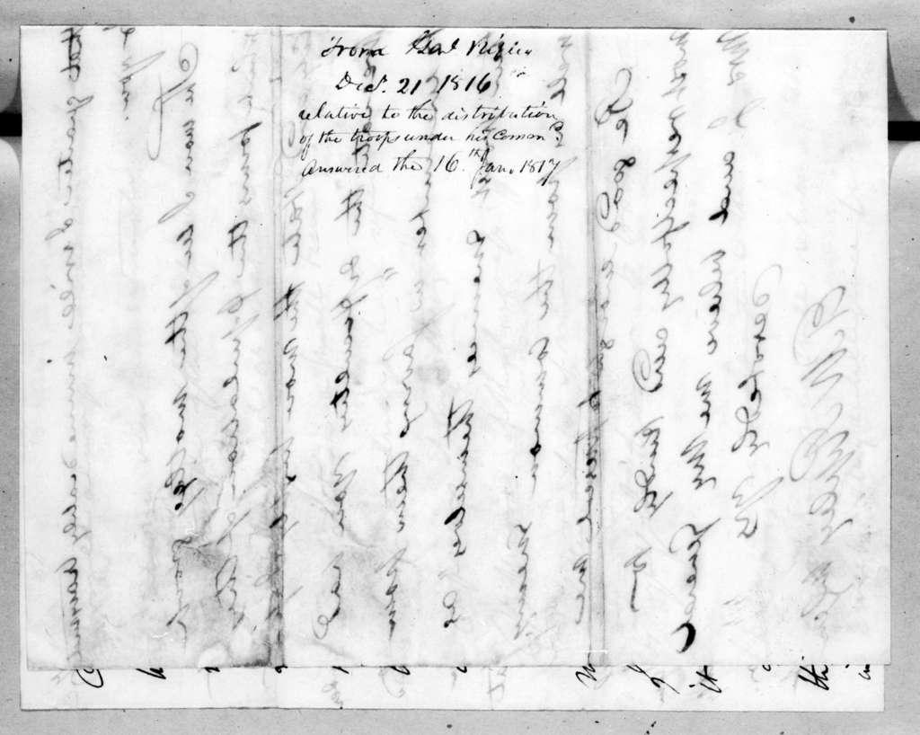 Eleazar Wheelock Ripley to Andrew Jackson, December 21, 1816