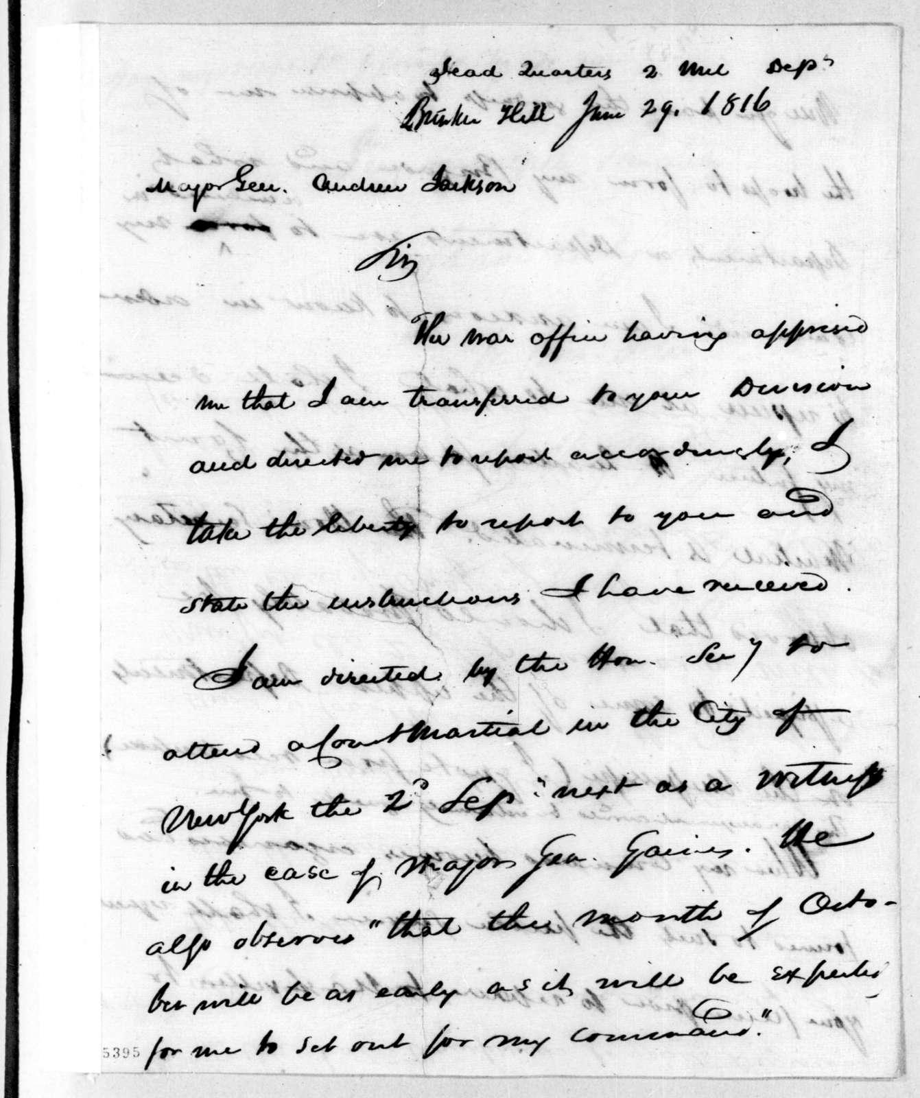 Eleazar Wheelock Ripley to Andrew Jackson, June 29, 1816