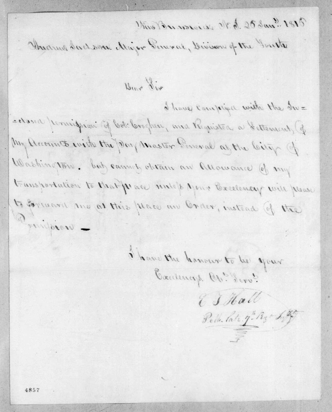 Elisha T. Hall to Andrew Jackson, January 26, 1816