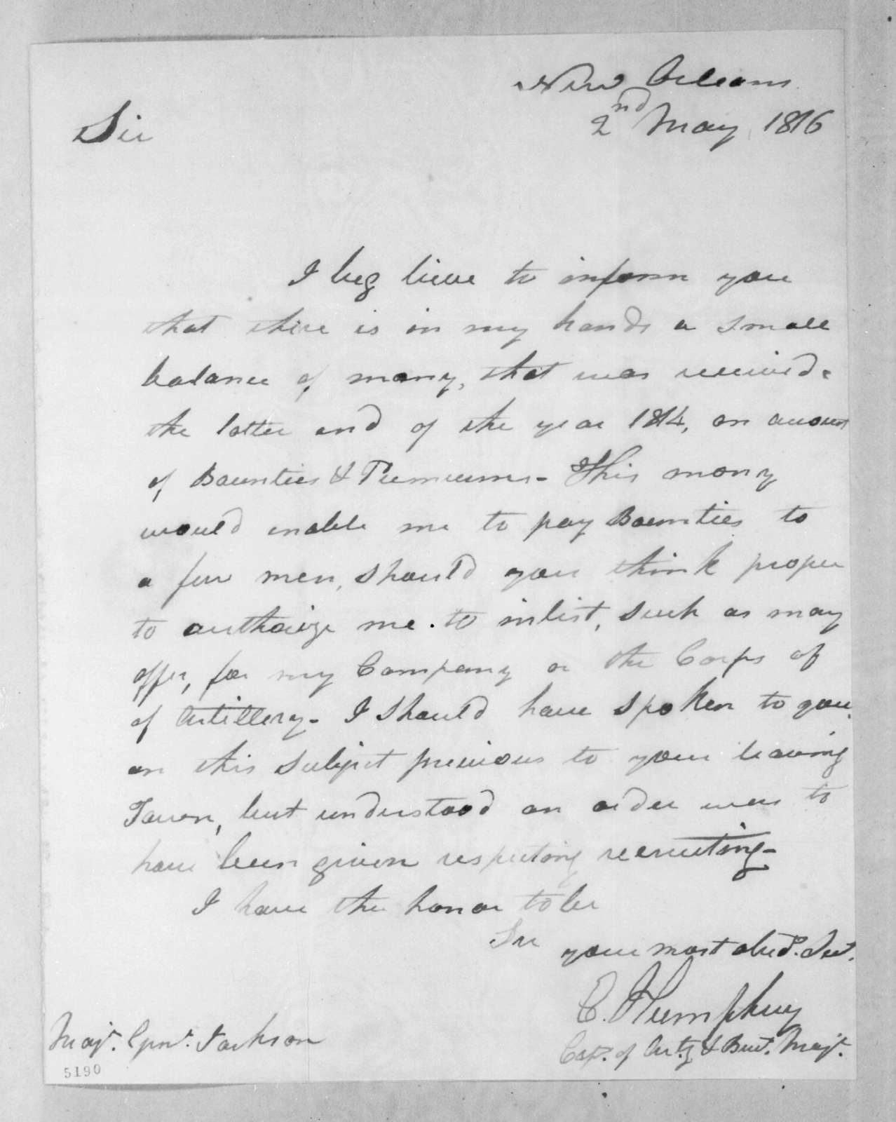 Enoch Humphrey to Andrew Jackson, May 2, 1816