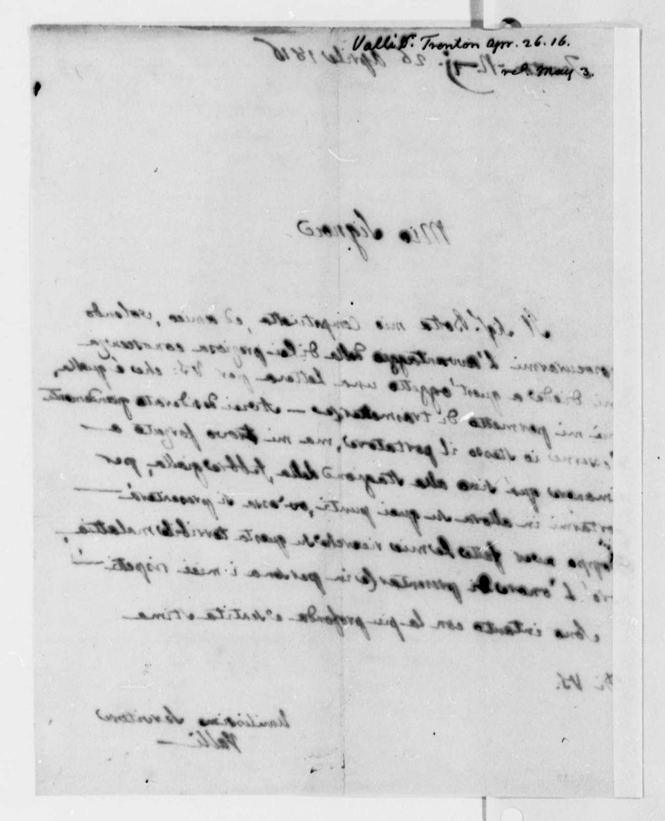 Eusebio Valli to Thomas Jefferson, April 26, 1816, in Italian