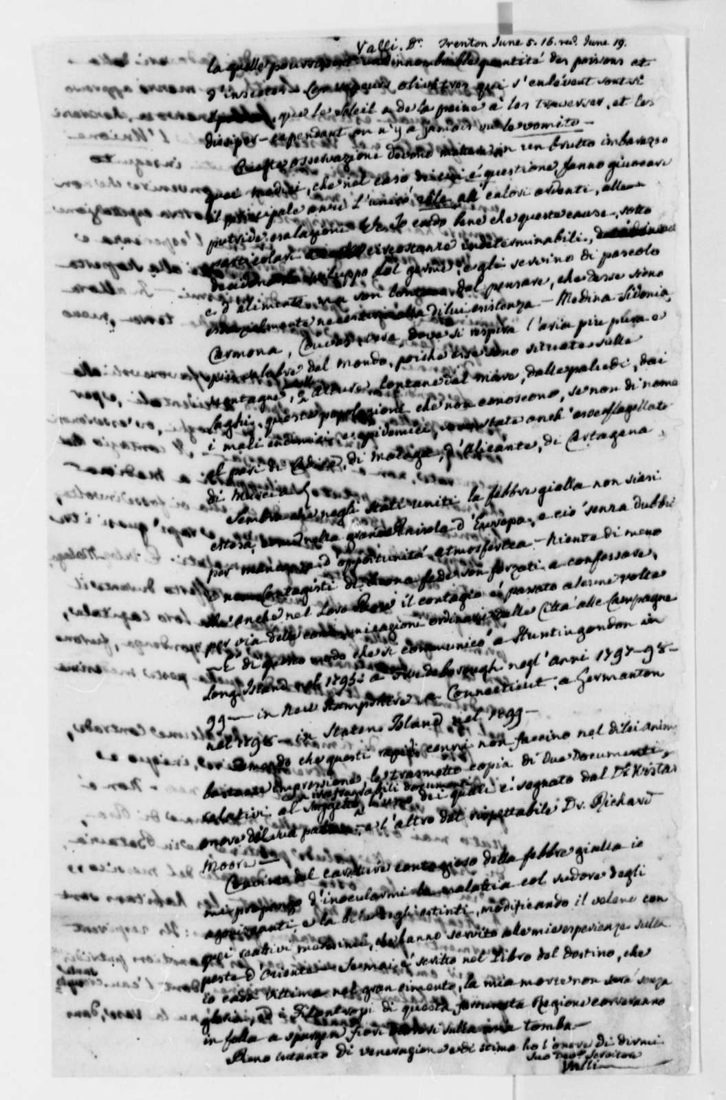 Eusebio Valli to Thomas Jefferson, May 3, 1816, in Italian