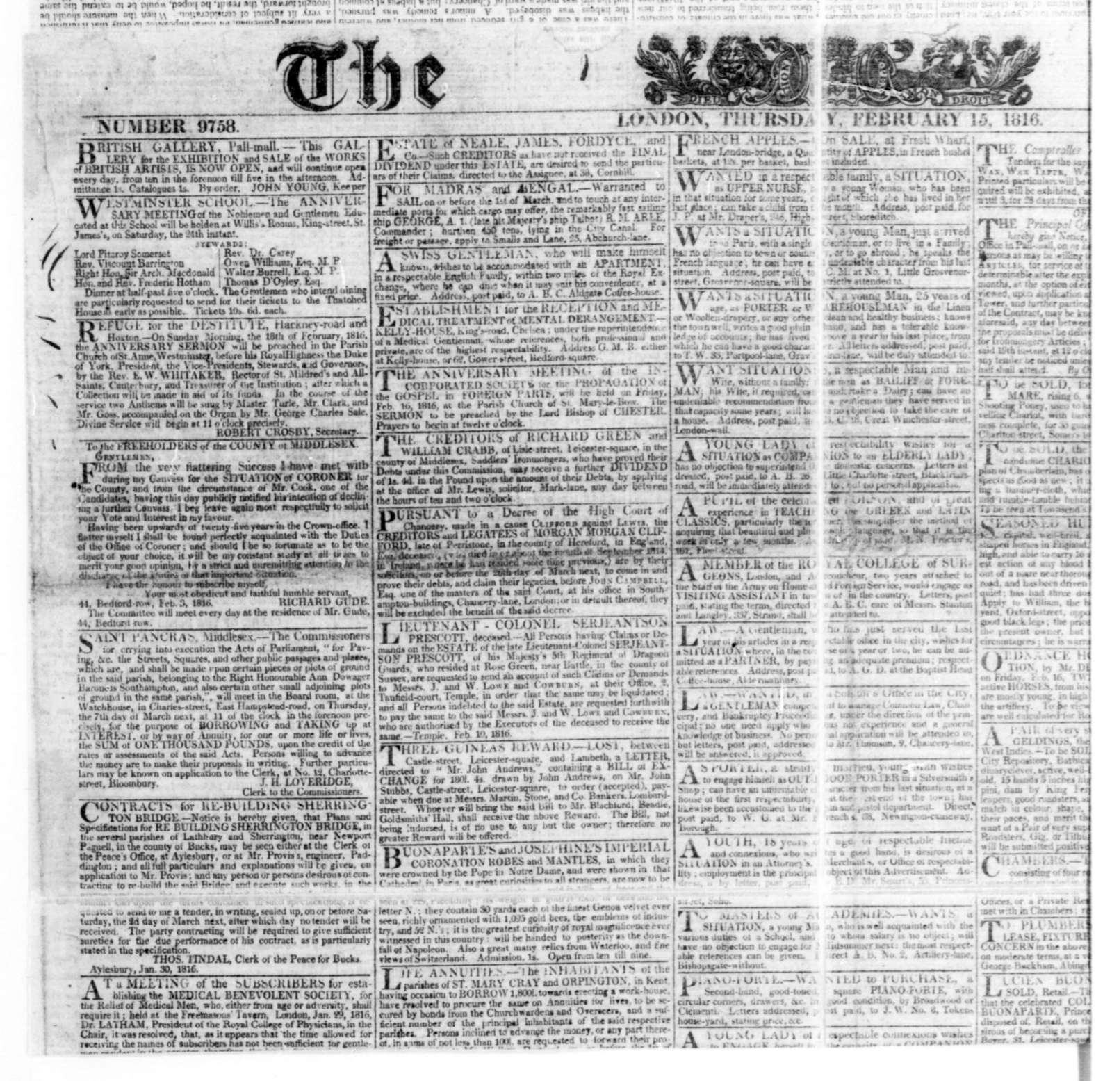 February 15, 1816. Clipping from the The Times, London, England.