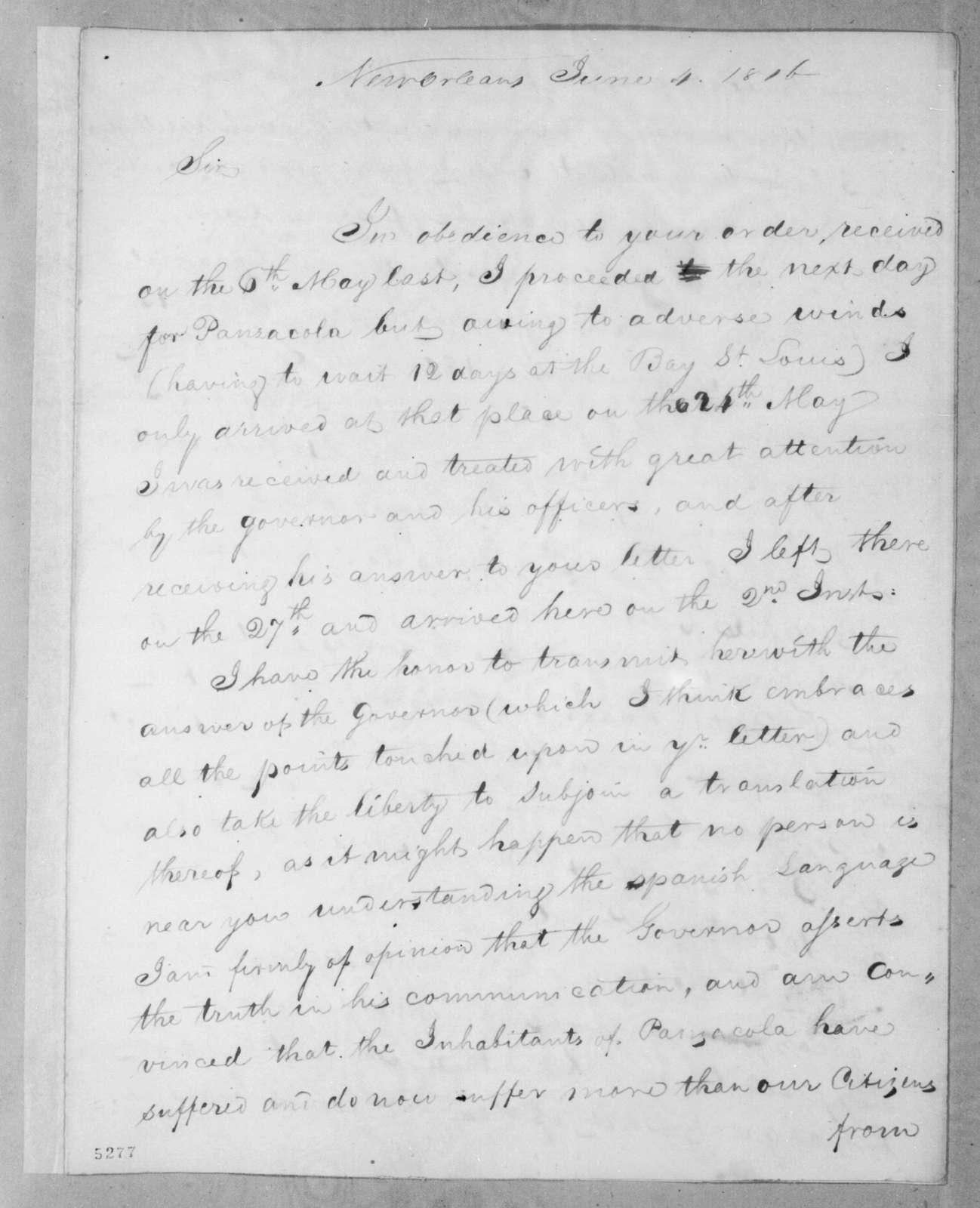 Ferdinand Louis Amelung to Andrew Jackson, June 4, 1816