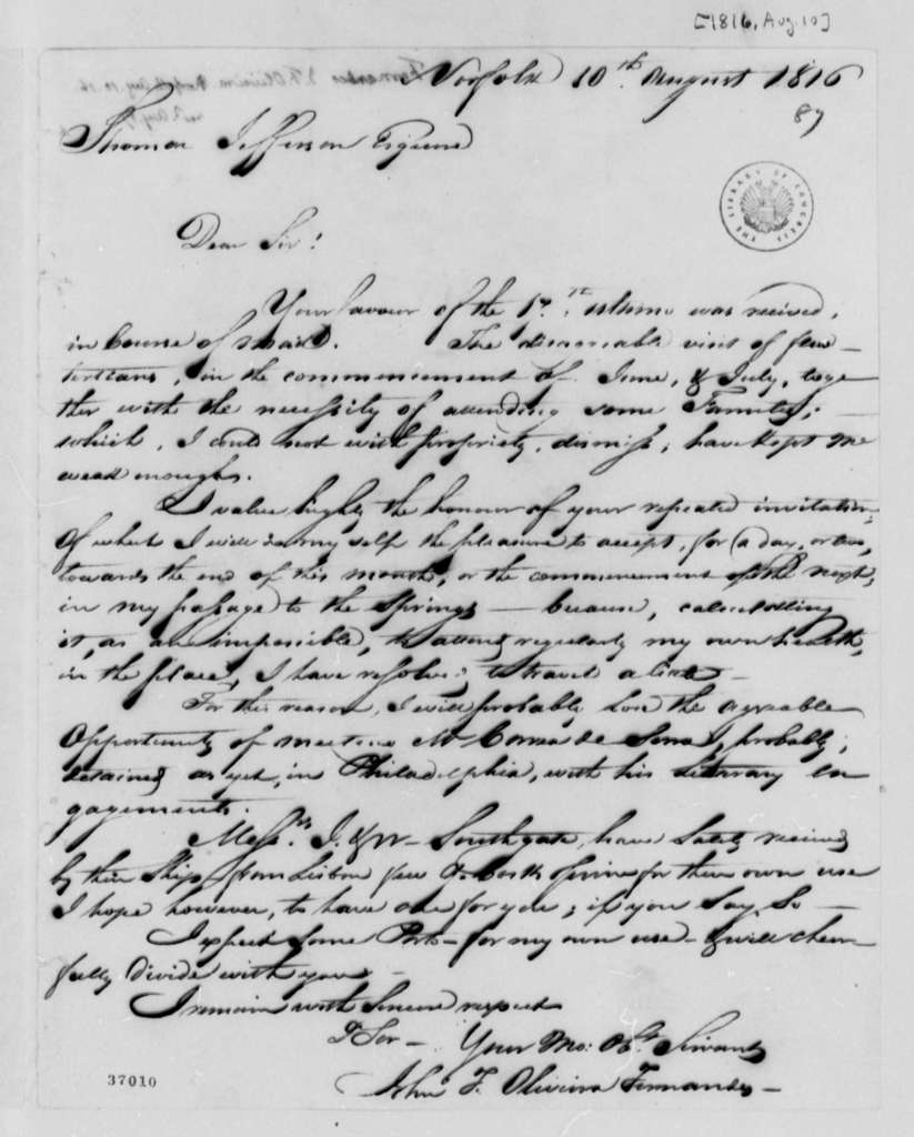 Fernandez Oliviera to Thomas Jefferson, August 10, 1816