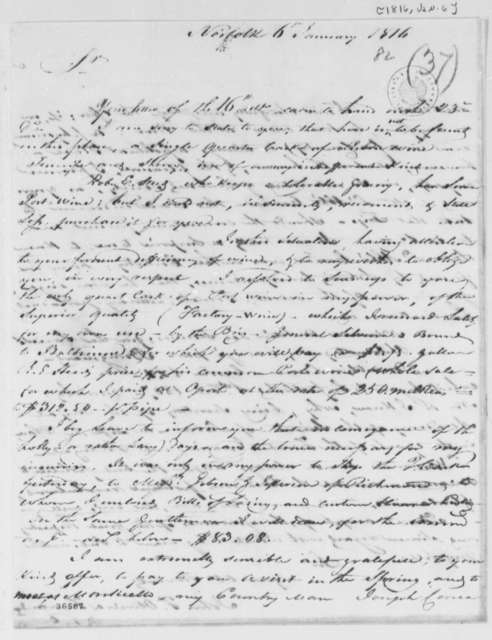 Fernandez Oliviera to Thomas Jefferson, January 6, 1816