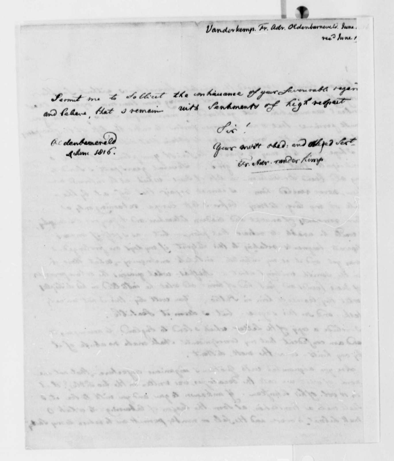 Francis A. van der Kemp to Thomas Jefferson, June 4, 1816