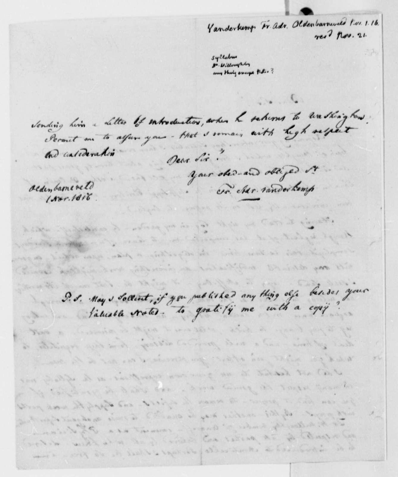 Francis A. van der Kemp to Thomas Jefferson, November 1, 1816