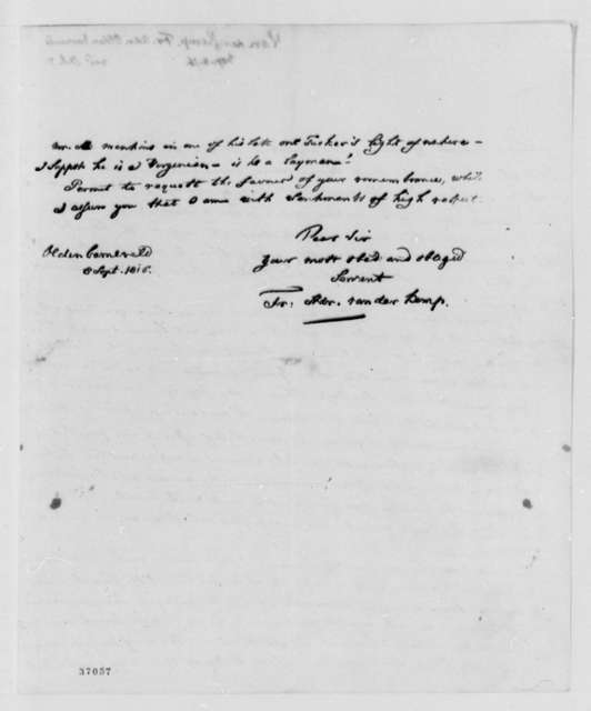 Francis A. van der Kemp to Thomas Jefferson, September 8, 1816