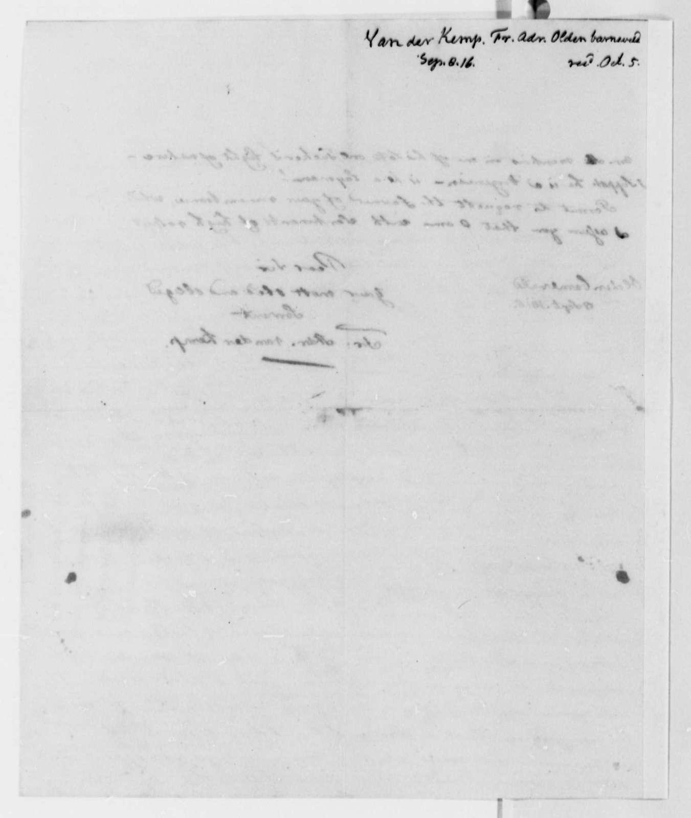 Francis A. van der Kemp to Thomas Jefferson, September 8, 1816