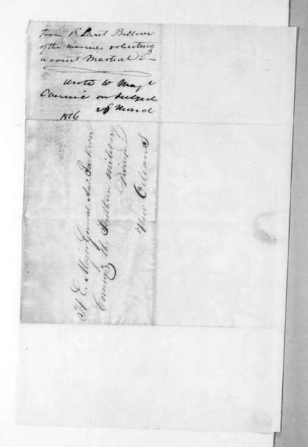 Francis Barbin de Bellevue to Andrew Jackson, March 26, 1816