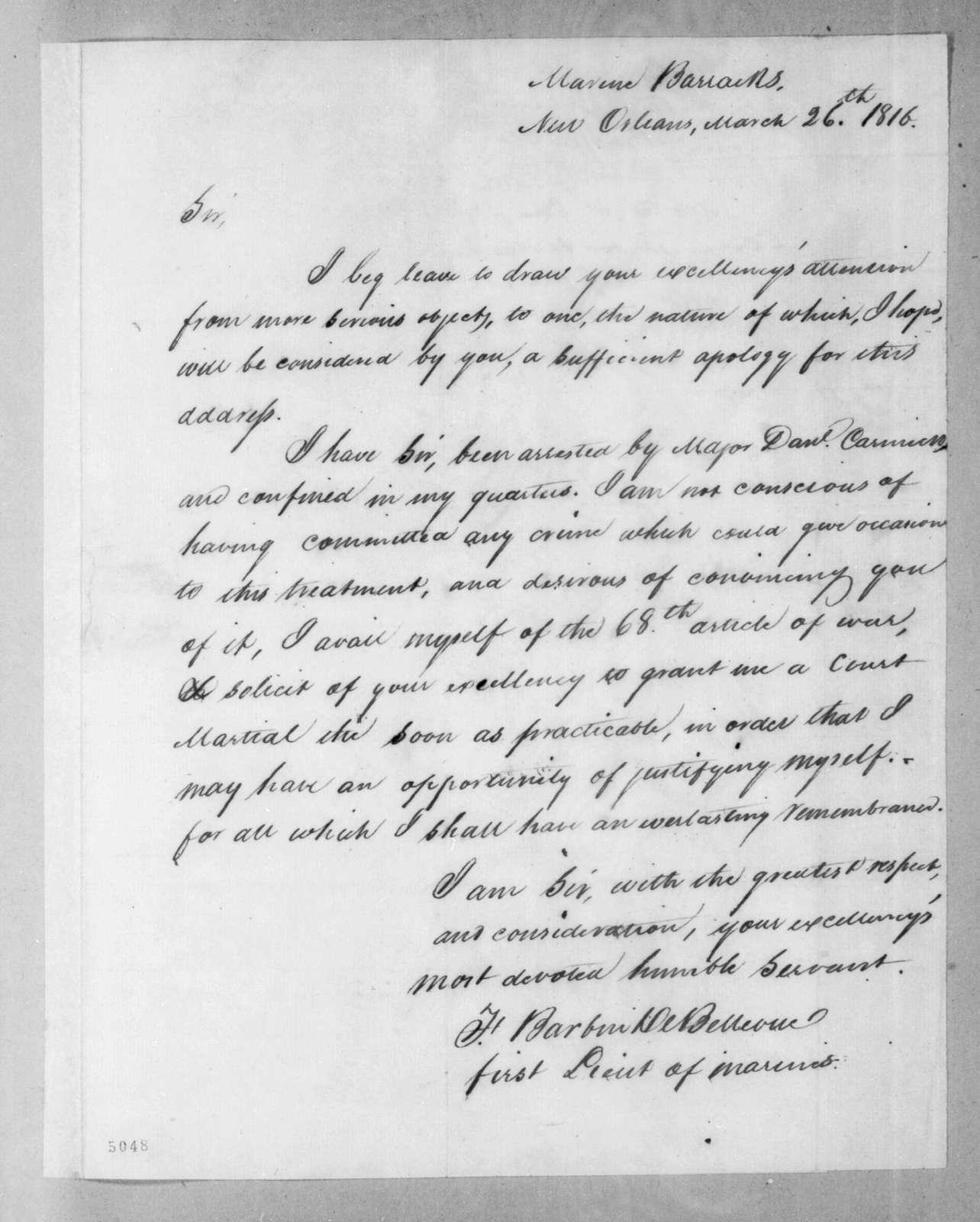 Francis Barbin de Bellevue to Andrew Jackson, March 26, 1816