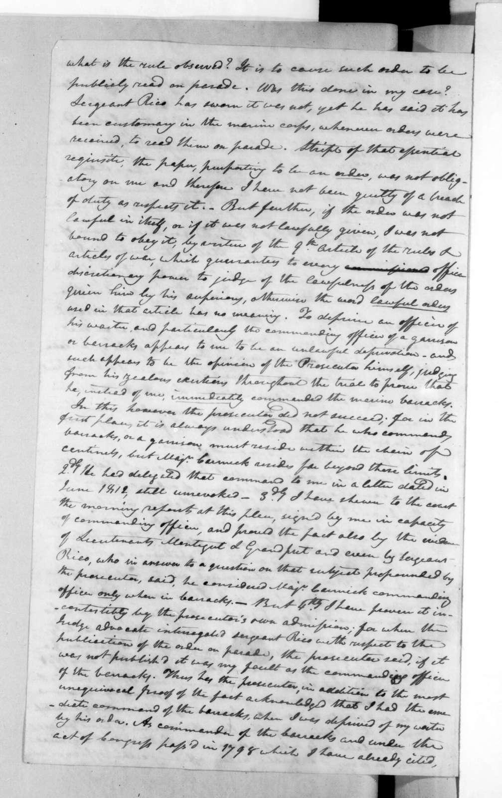 Francis Barbin de Bellevue to James Madison, April 8, 1816