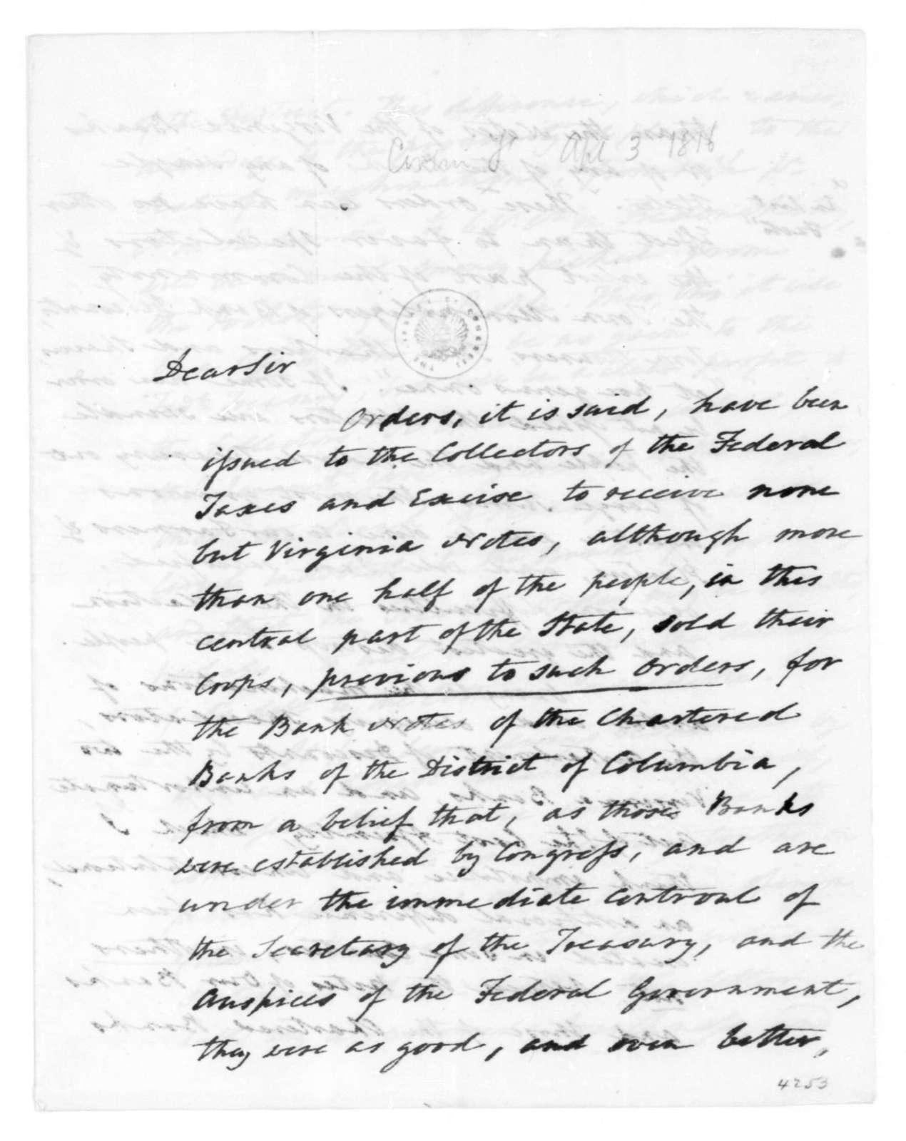 Francis Corbin to James Madison, April 3, 1816.