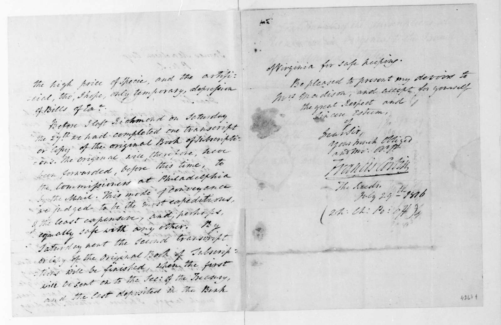 Francis Corbin to James Madison, July 29, 1816. Includes a statement from the Bank of United States.
