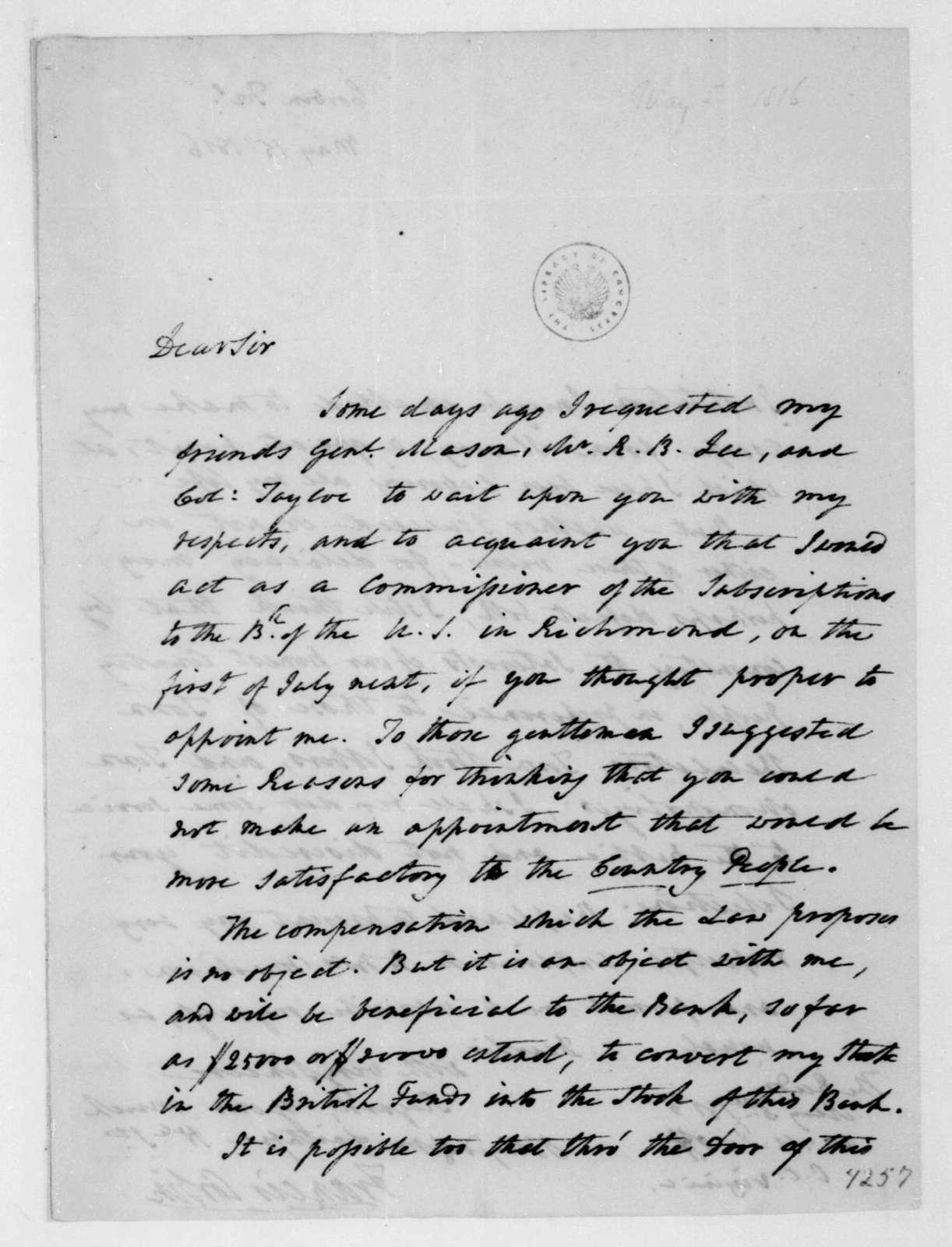 Francis Corbin to James Madison, May 5, 1816.