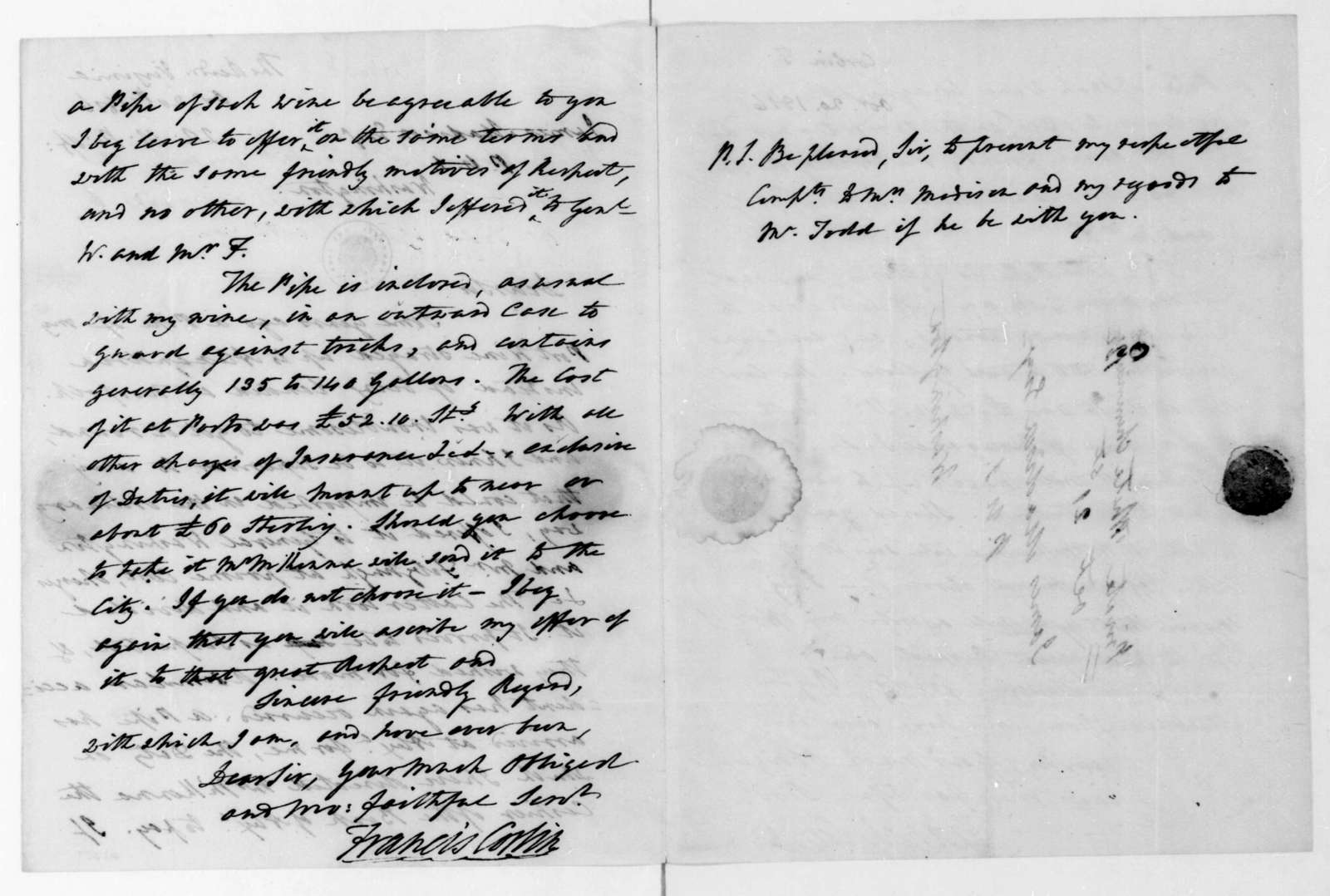 Francis Corbin to James Madison, October 20, 1816.