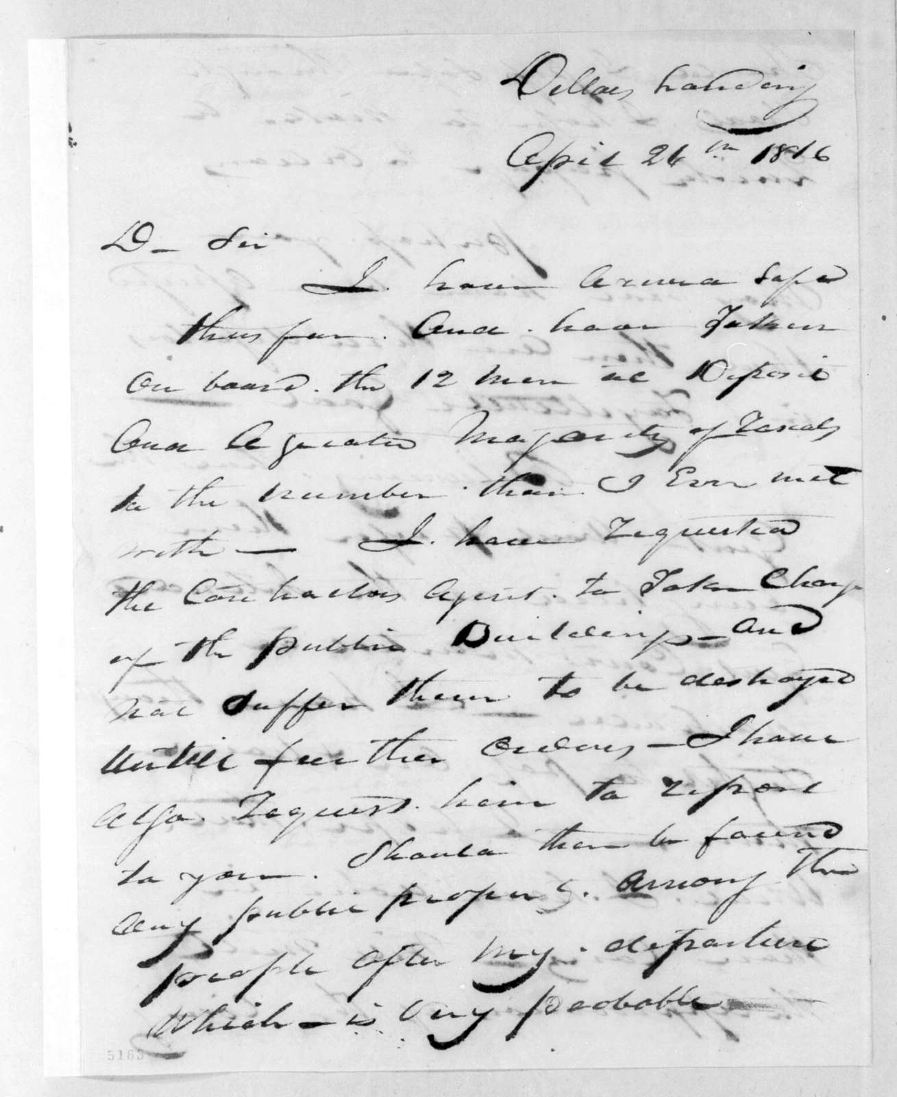 Francis Wells Armstrong to Robert Butler, April 26, 1816