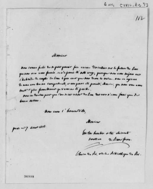Freres Debure to David B. Warden, August 7, 1816, in French