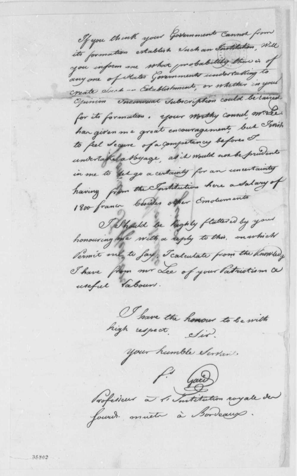 Gard to Thomas Jefferson, April 9, 1816