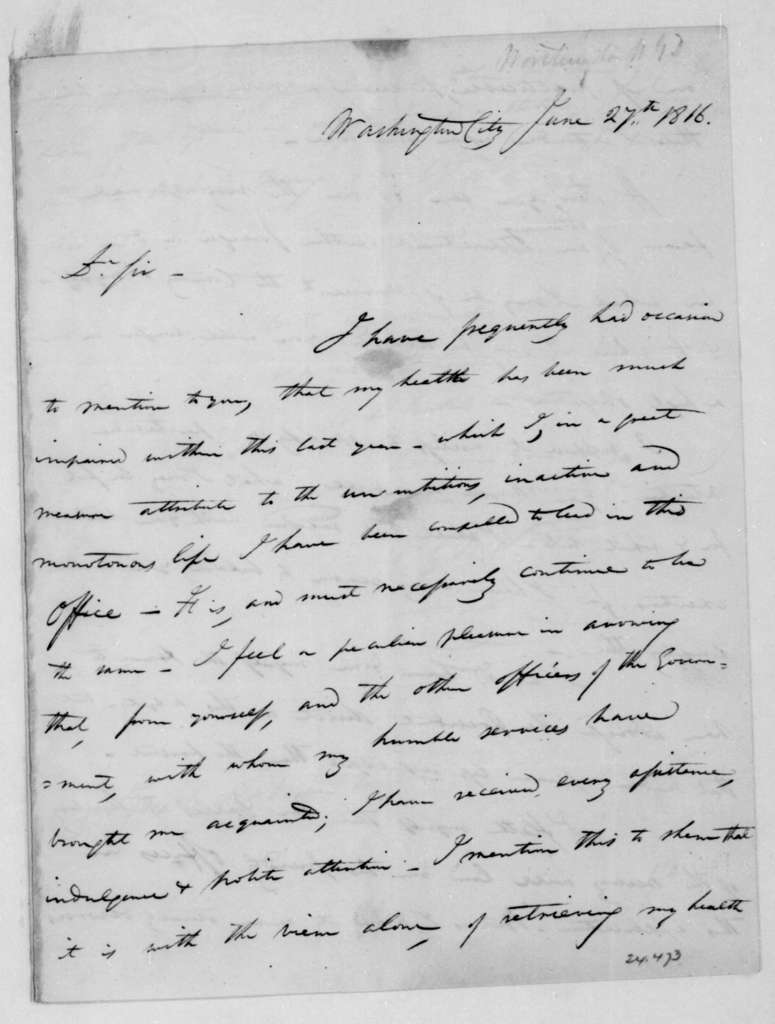 G.D. Worthington to Jospeh Anderson, June 27, 1816.