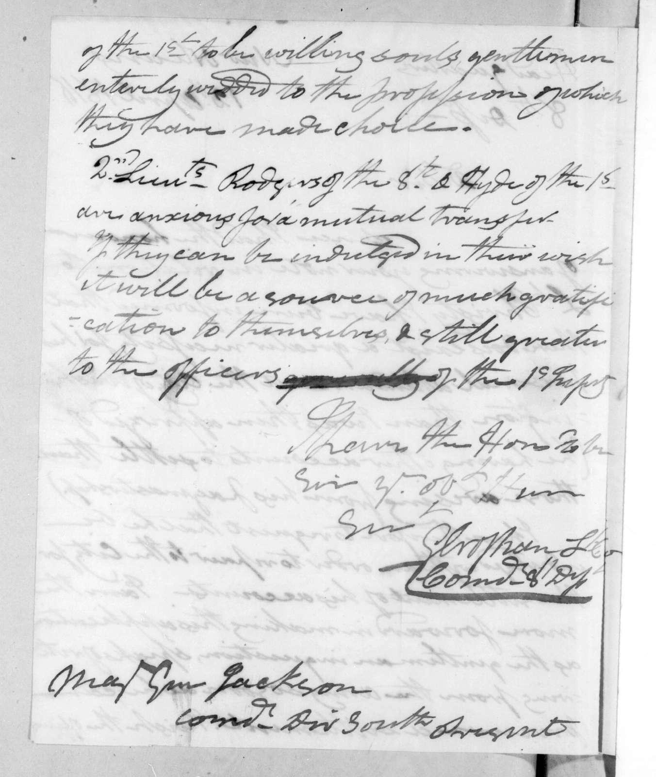 George Croghan to Andrew Jackson, April 12, 1816