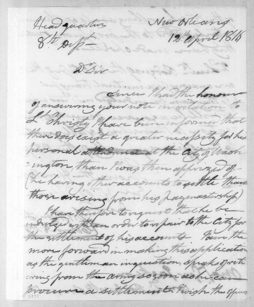 George Croghan to Andrew Jackson, April 12, 1816