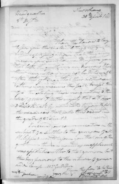 George Croghan to Andrew Jackson, April 30, 1816