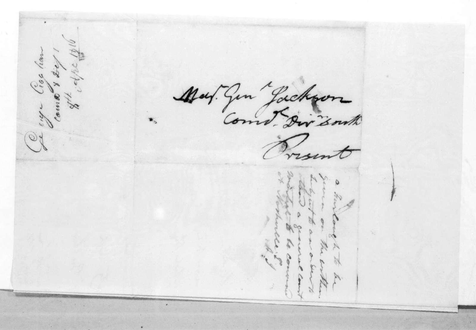 George Croghan to Andrew Jackson, April 8, 1816